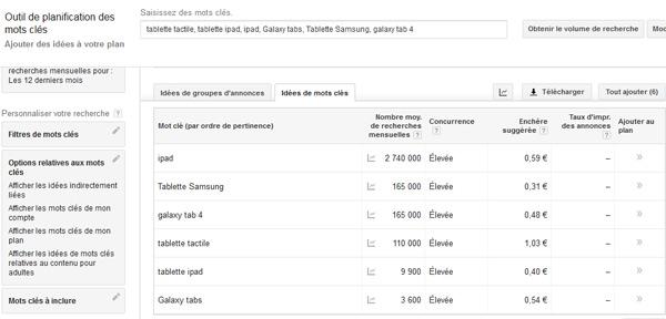 Planifiaction de mots-clés Google Adwords