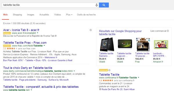 Résultats de recherche Google avec publicité