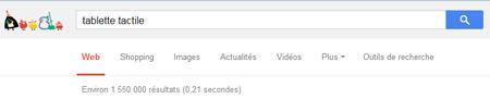 Nombre de résultats dans Google