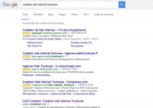 4 annonces adwords dans les résultats de Google